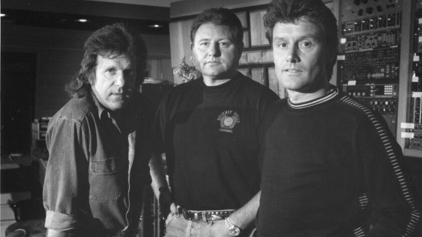 Keith Emerson, left, Greg Lake and Carl Palmer in San Diego in 1992.