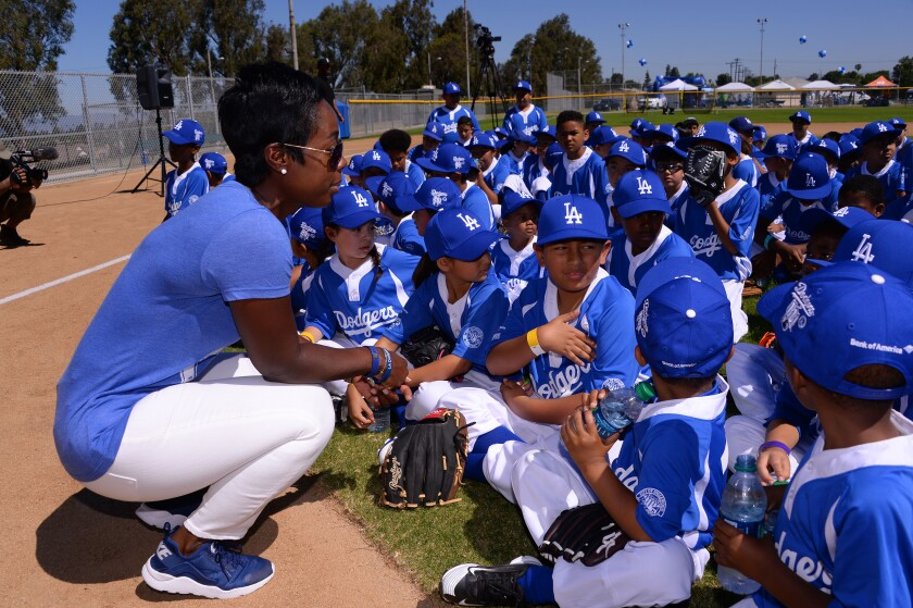 Los Angeles Dodgers Foundation head Nichol Whiteman at Darby Park in Inglewood in 2017.