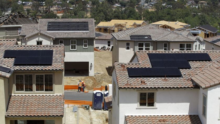 SANTEE, May 8, 2018 | Solar panels have been installed on the roofs of some of the newly built homes