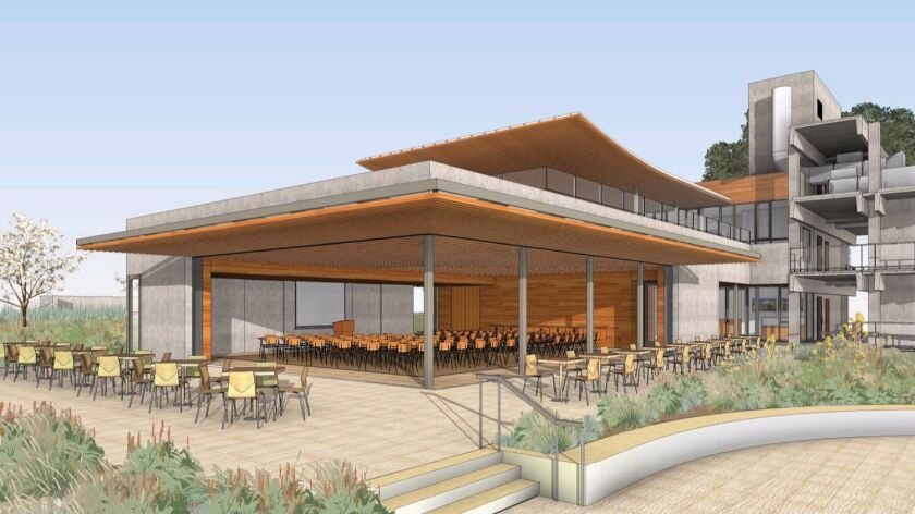 Artist's rendering of the 100-student forum and the second-story cafeteria to be constructed on the Scripps campus