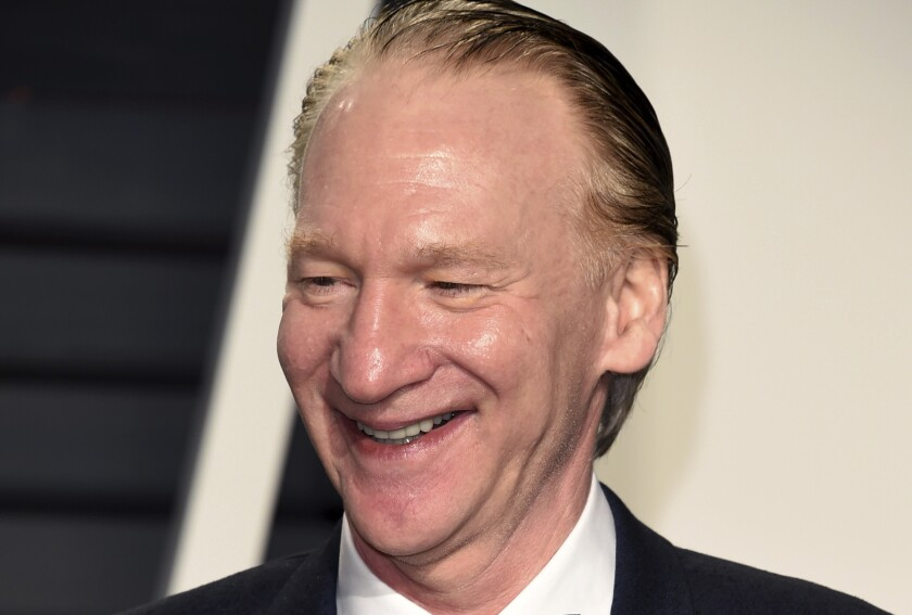 """FILE - In this Sunday, Feb. 26, 2017, file photo, Bill Maher arrives at the Vanity Fair Oscar Party in Beverly Hills, Calif. A taping of Maher's weekly HBO show was cancelled after the host tested positive for COVID. Maher, who is fully vaccinated, is """"asymptomatic and feels fine,"""" according to a statement Thursday, May 13, 2021, from HBO. (Photo by Evan Agostini/Invision/AP, File)"""