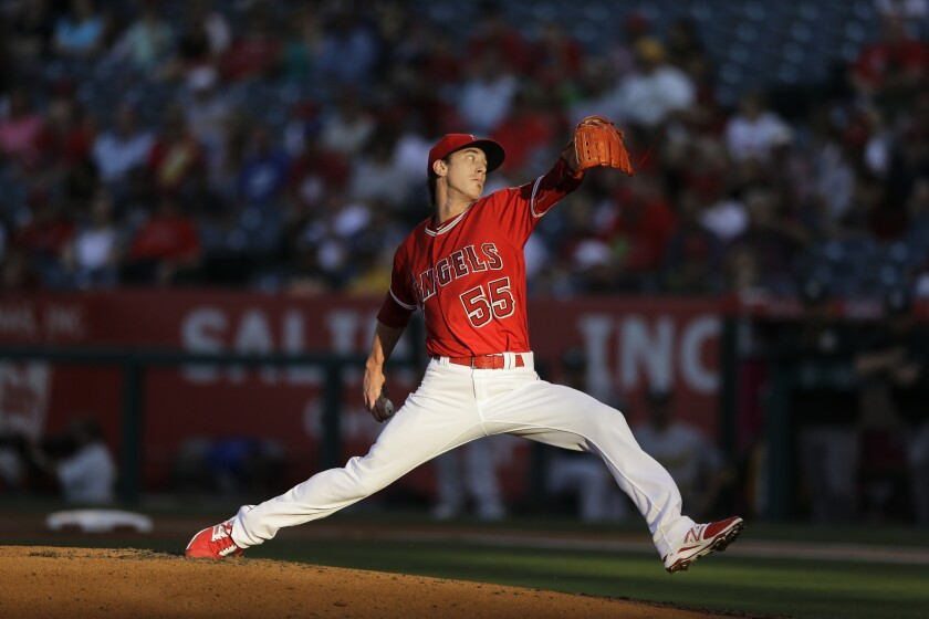 Angels starting pitcher Tim Lincecum works against the Athletics during the first inning.