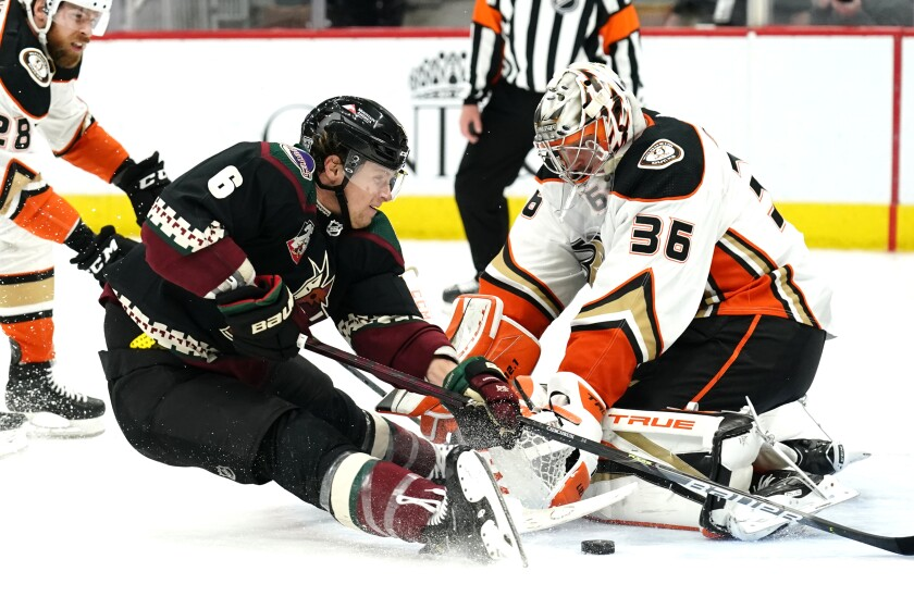 Arizona Coyotes defenseman Jakob Chychrun scores past Ducks goaltender John Gibson.