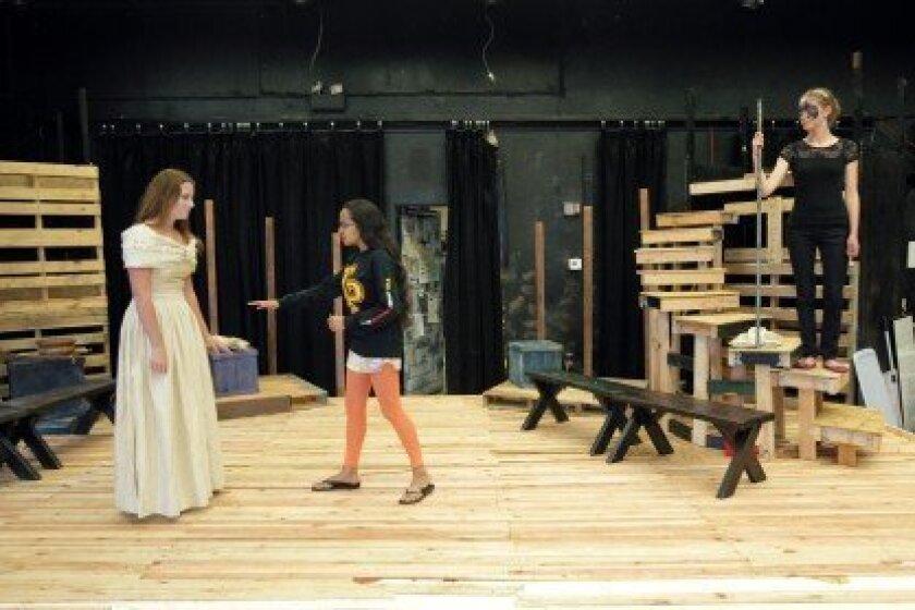 "Torrey Pines High School students rehearse for the play ""Argonautika: The Voyage of Jason and the Argonauts"" in The Black Box Theatre. Photo/Jon Clark"