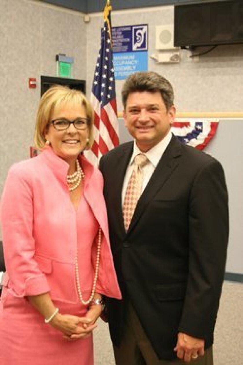 DMUSD President Scott Wooden with super-intendent Holly McClurg.