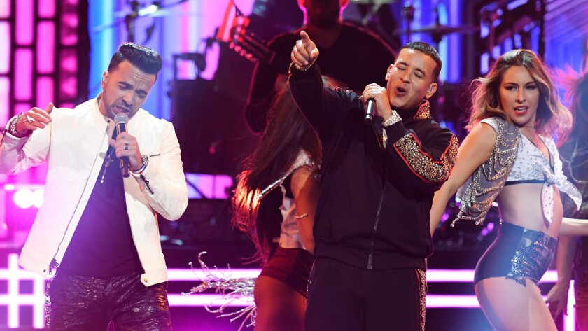 Luis Fonsi, left, and Daddy Yankee perform at last year's Grammy awards show at Madison Square Garden.