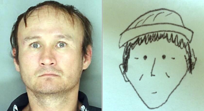 Hung Phoc Nguyen, sosprechoso de robo, y el diubujo que ayudó a reconocerlo.