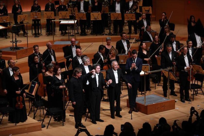Esa-Pekka Salonen, Gustavo Dudamel and Zubin Mehta take a bow.