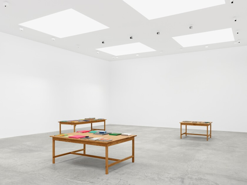 "Laura Owens' ""Books and Tables"" installation is at Matthew Marks Gallery through Jan. 25."