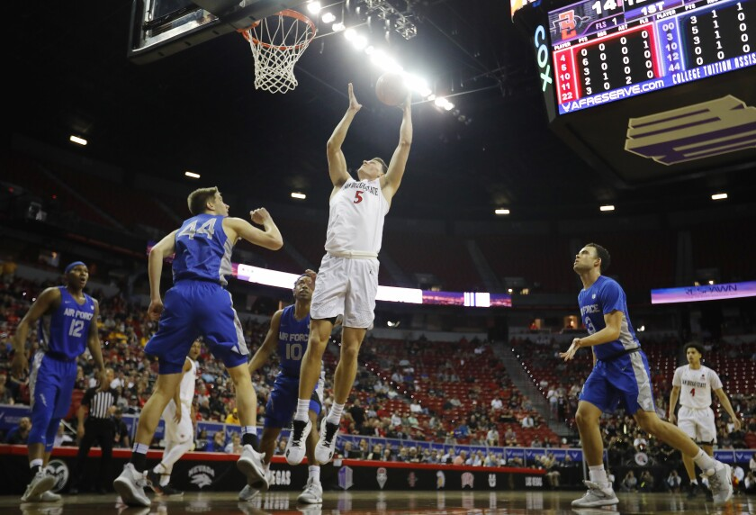 San Diego State's Yanni Wetzel scores two of his 16 points against Air Force during the quarterfinals of the Mountain West Tournament on Thursday in Las Vegas.