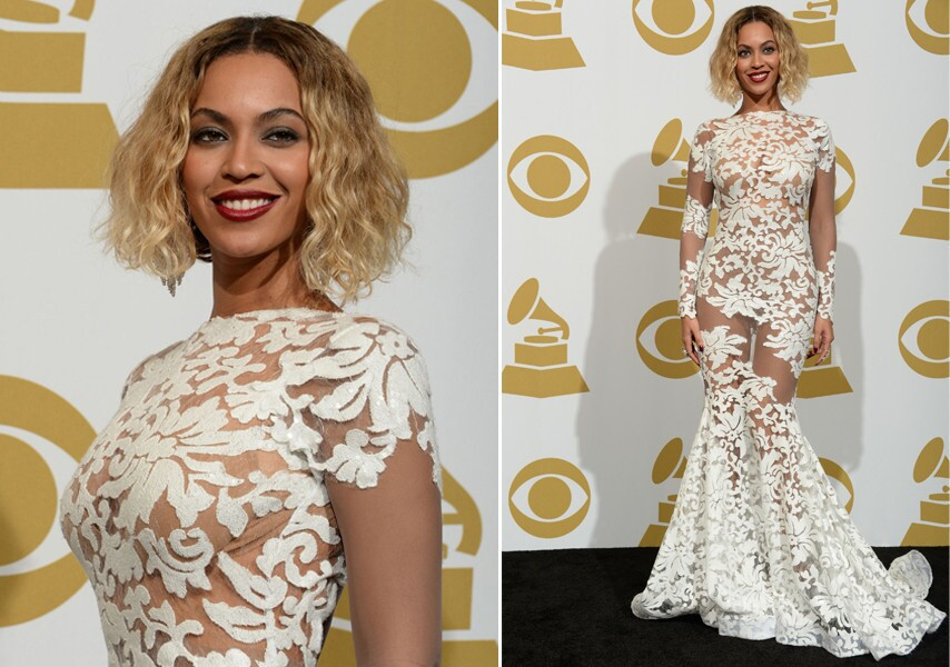 "She may not have walked the red carpet, but she stole the fashion show. After performing the opening number, the pop diva changed into a sheer white floral lace gown that was exactly the kind of risque style statement we expect to see on music's biggest night. The dress was created by 31-year-old L.A.-based designer and ""Project Runway"" alum Michael Costello. To read an interview with Costello about this dress, click here."