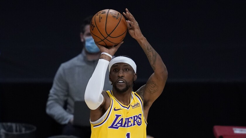 Lakers guard Kentavious Caldwell-Pope is shooting nearly 55.3% from three-point range this season.
