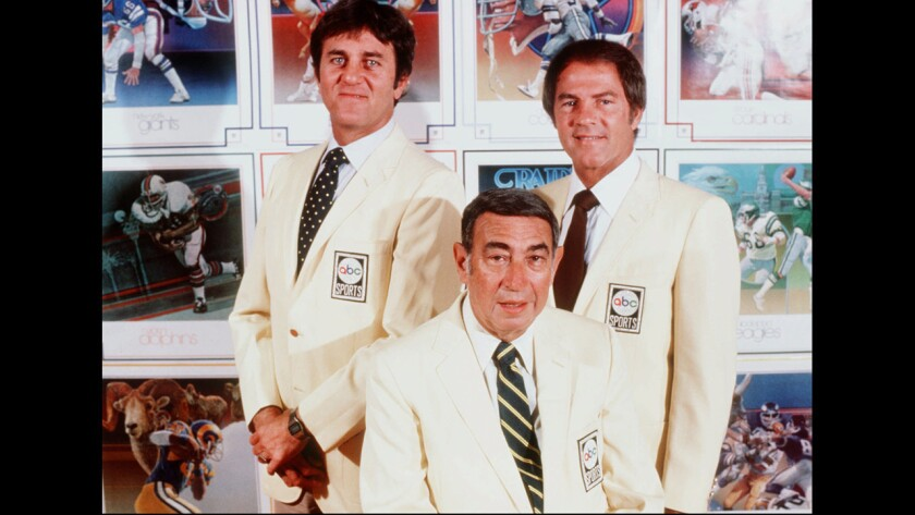 "ABC's ""Monday Night Football"" crew of Don Meredith, Howard Cosell and Frank Gifford."