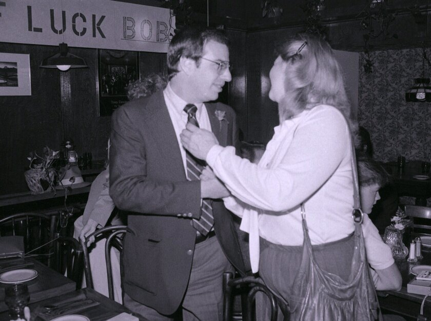 Nov. 8, 1983, Hillcrest: Bob Filner candidate for City Council, interacting with supporters at the Boardwalk Cafe.