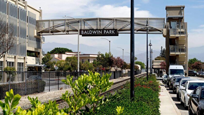 BALDWIN PARK, CALIF. - AUG. 29, 2018 - Train stop at Baldwin Park. (Jesse Goddard / For The Times)