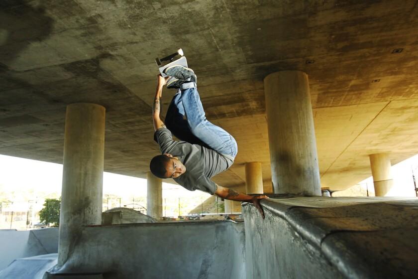 Brandon Perelson does a frontside invert at the Washington Street skatepark. (K.C. Alfred/Union-Tribune)