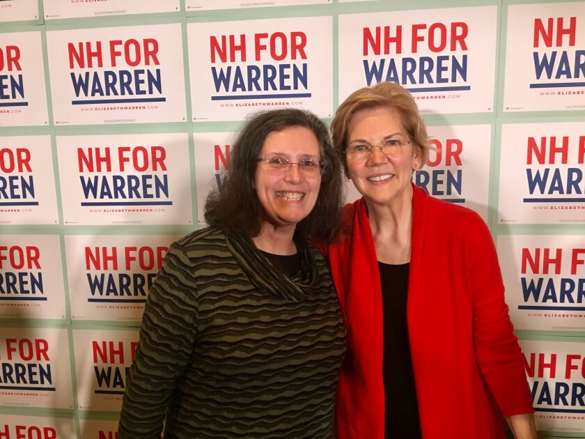 Cheri Schmitt with Democratic presidential candidate Elizabeth Warren.