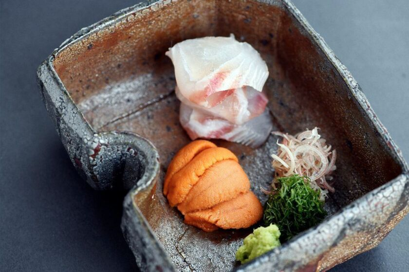 Wild Japanese sea bream and Hokkaido uni sashimi at Hayato