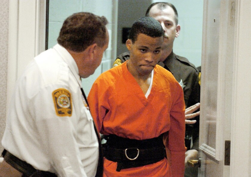 Lee Boyd Malvo enters a courtroom in the Spotsylvania, Va., in 2004. Malvo, now 33, will be resentenced for his role in the sniper killings that killed six people in the Washington, D.C., area when he was a teenager.