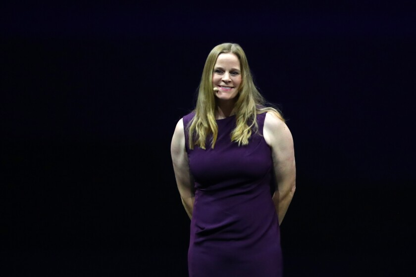 Cindy Parlow Cone on stage during the FIFA Women's World Cup Draw in Dec. 2018.