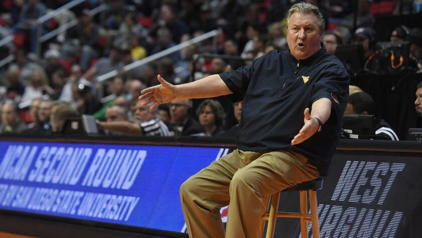 West Virginia head coach Bob Huggins reacts during game against Marshall in the second round of the 2018 NCAA men's Tournament at Viejas Arena.