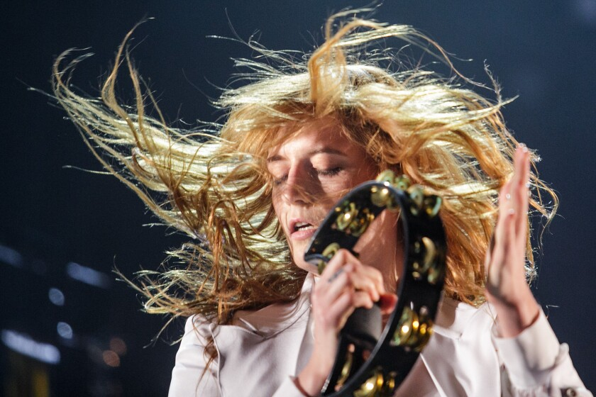 Florence + the Machine performs during Day 3 of the Coachella Valley Music and Arts Festival in Indio on April 12.