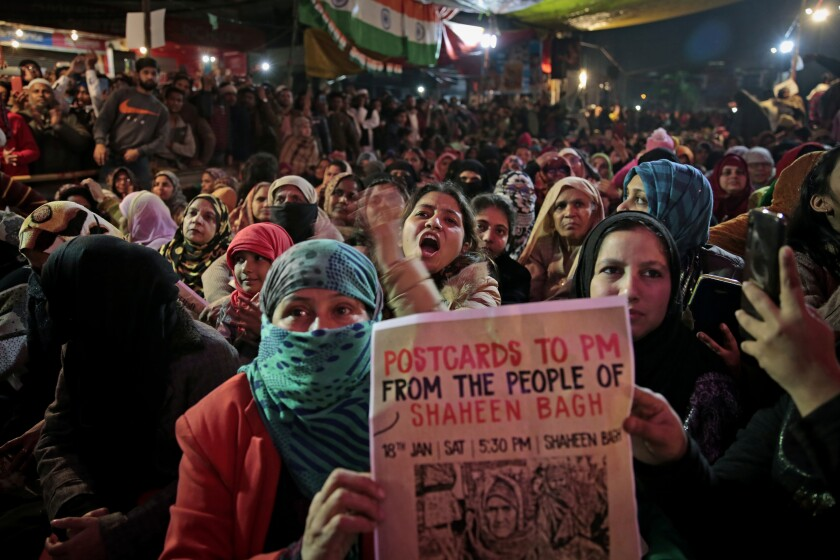 Women opposed to a new citizenship law take part in a protest in New Delhi on Jan. 18.