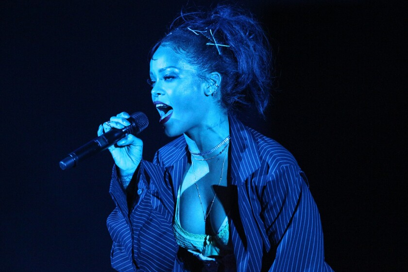 """Rihanna performs at the We Can Survive Concert at the Hollywood Bowl on Saturday, Oct. 24, 2015, in Los Angeles. The singer released """"Work,"""" from her upcoming album """"Anti"""" as a surprise on Wednesday."""