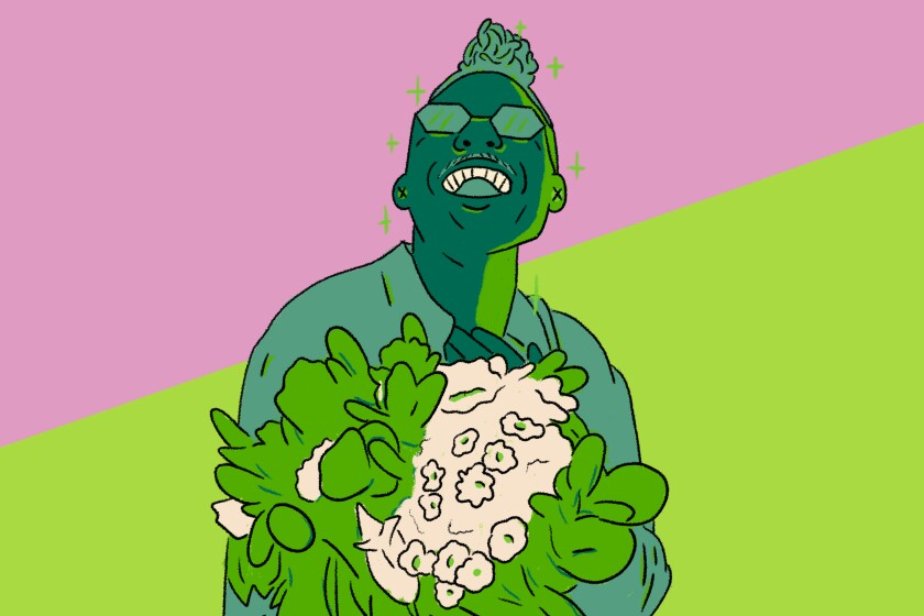 Illustration of Christopher Griffin a.k.a. PlantKween on Instagram and his favorite plant, the snake plant.