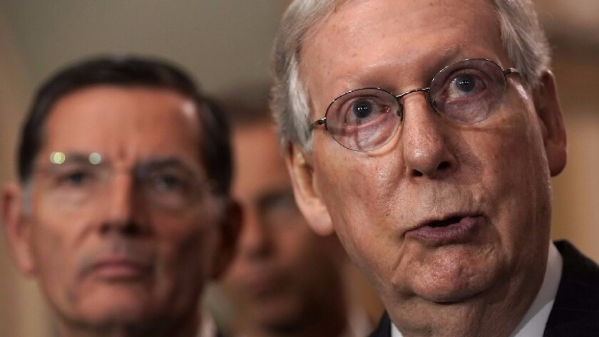 """It's time to make a deal,"" Senate Majority Leader Sen. Mitch McConnell (R-Ky.) said Wednesday in endorsing President Trump's plan, which failed to win passage Thursday."