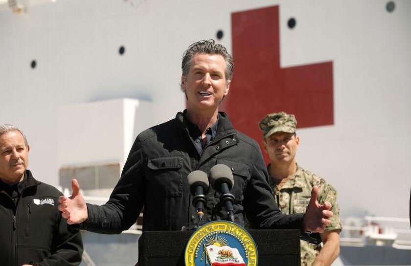 California Gov. Gavin Newsom on the Navy hospital ship Mercy