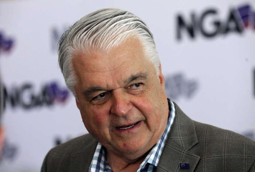 """FILE - This July 24, 2019 file photo shows Nevada Gov. Steve Sisolak speaks during a news conference at the summer meeting of the National Governors Association in Salt Lake City. Sisolak is expressing outrage and vowing to tighten marijuana licensing oversight after reports that a foreign national contributed to two top state political candidates last year in a bid to skirt rules to open a legal cannabis store. Sisolak declared Friday, Oct. 11, 2019 there's been """"lack of oversight and inaction"""" by the state Marijuana Enforcement Division. (AP Photo/Rick Bowmer, File)"""