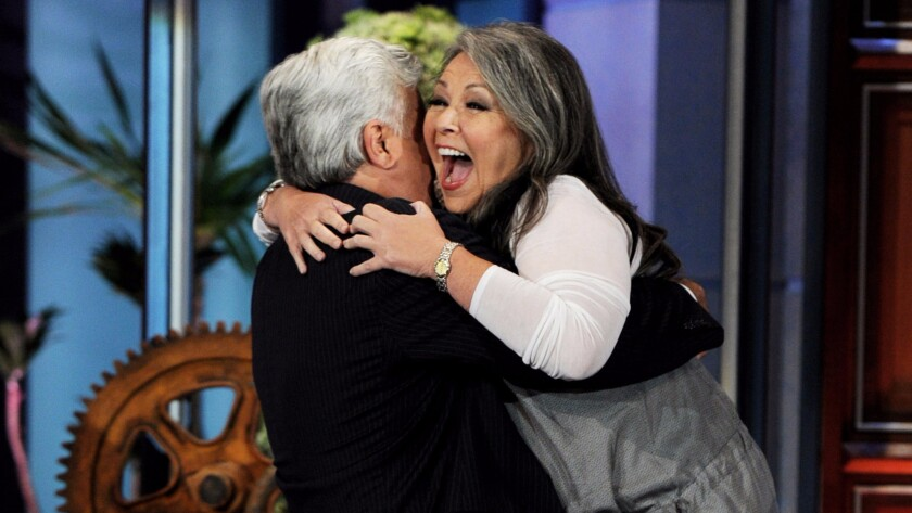"""On Aug. 4, 2011, Roseanne Barr announced she was running for president on """"The Tonight Show,"""" making Jay Leno very happy."""