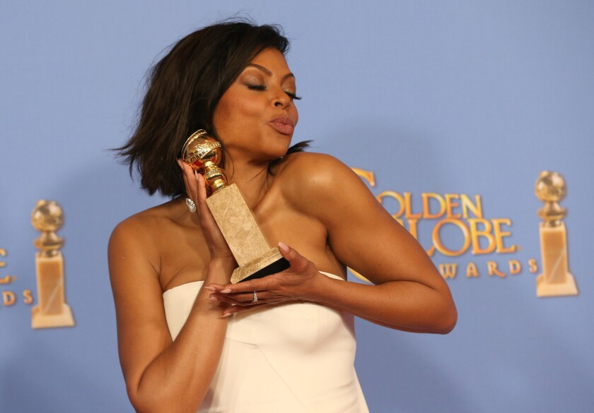 """Empire"" starTaraji P. Henson in the deadline press room with her Golden Globe for TV actress -drama at the 73rd Golden Globe Awards show at the Beverly Hilton Hotel on Jan. 10, 2016. (Allen J. Schaben / Los Angeles Times)"