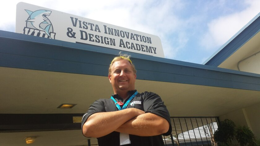VIDA Principal Eric Chagala stands in front of Vista Unified's newest school, which will focus on design thinking skills in all classes. The school opens Monday.