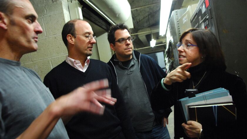 """""""48 Hours"""" executive producer Susan Zirinsky, right, is seen with producer Chuck Stevenson, senior producer Anthony Batson and editor Tommy Costantino at the CBS Broadcast Center in 2007."""