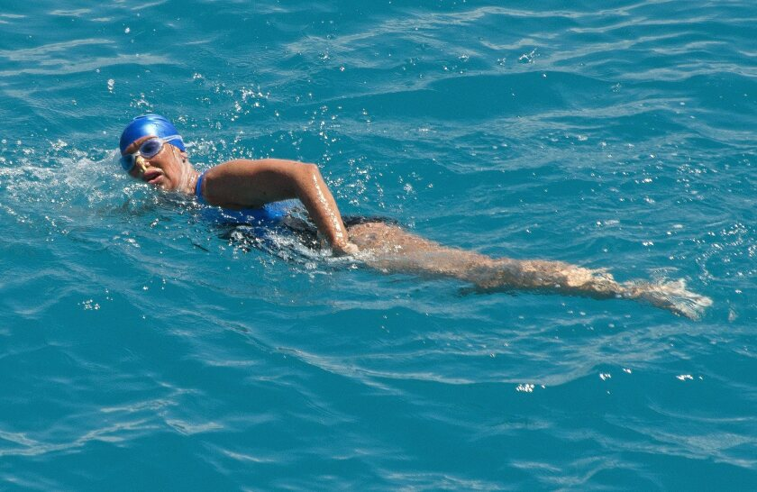 Diana Nyad positioned about two miles off Key West, Florida, swimming towards the completion of her 111-mile trek from Cuba to the Florida Keys on September 2, 2014.