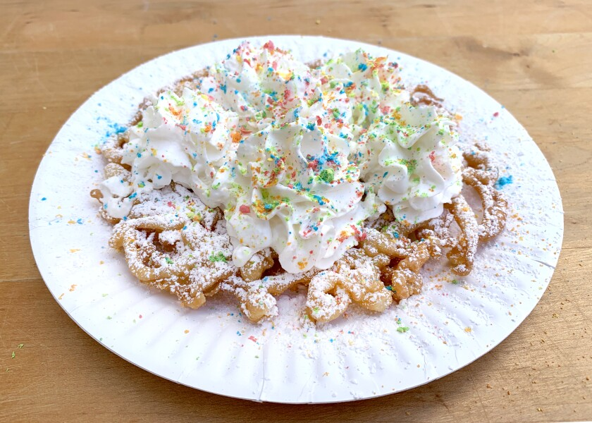 Funnel cake with Lucky Charms magical marshmallows recipe by Genevieve Ko.