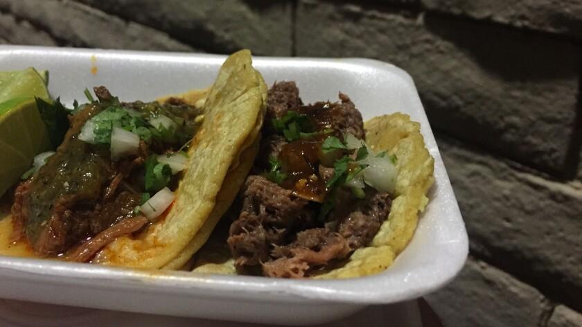 Barbacoa and lengua tacos at the Don Cuco truck.
