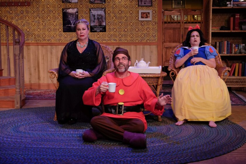 "Dana Hooley, Tom Hall and Wendy Waddell are dysfunctional siblings in the Christopher Durang comedy ""Vanya and Sonia and Masha and Spike"" at Scripps Ranch Theatre."