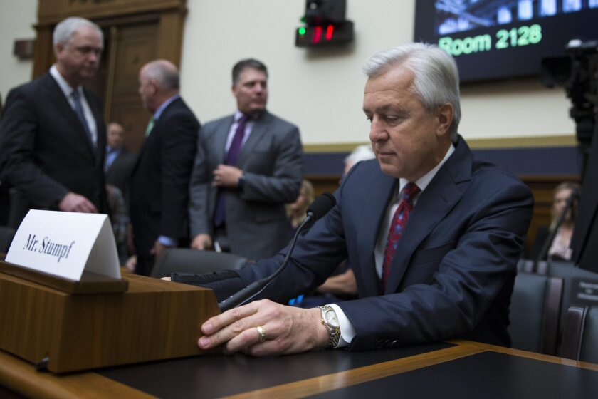 Wells Fargo CEO John Stumpf prepares to testify Sept. 29 before the House Financial Services Committee, which harshly criticized the bank and his leadership.