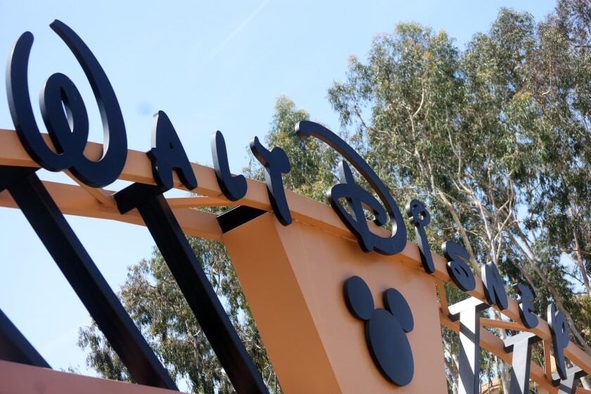 The entrance to Walt Disney Co. corporate headquarters in Burbank.