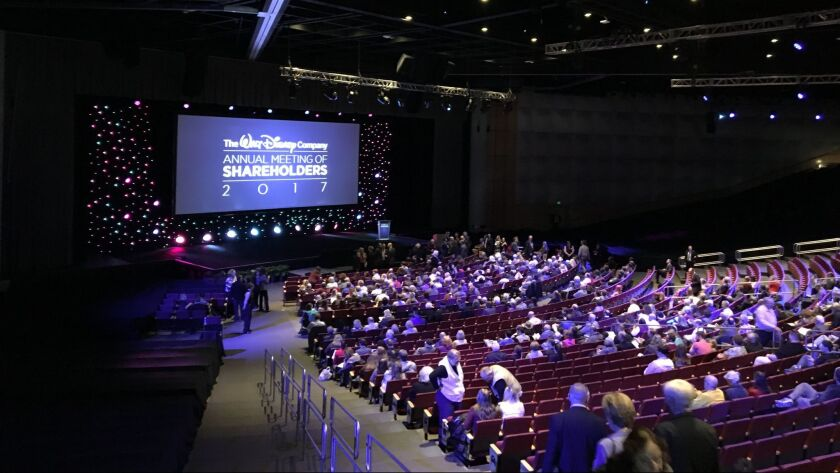 Walt Disney Co. shareholders gathered in Denver at the city's convention center for the company's annual meeting.