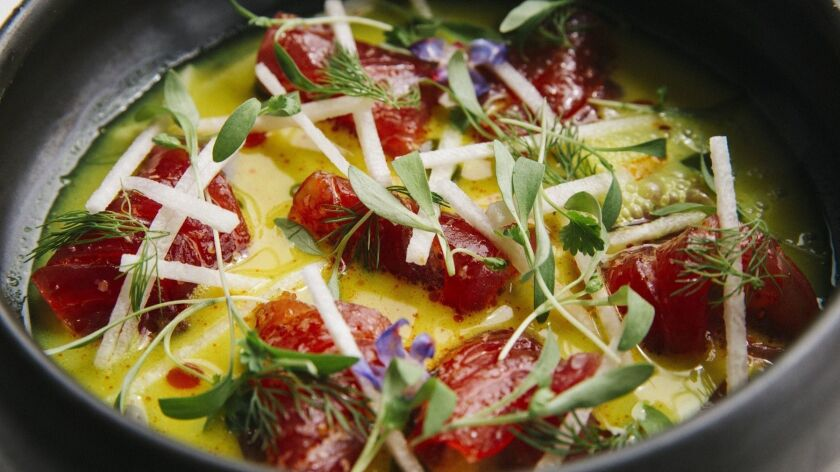 Death By Tequila chef Angelo Sosa's ahi tuna crudo dish is a top bite of 2018.
