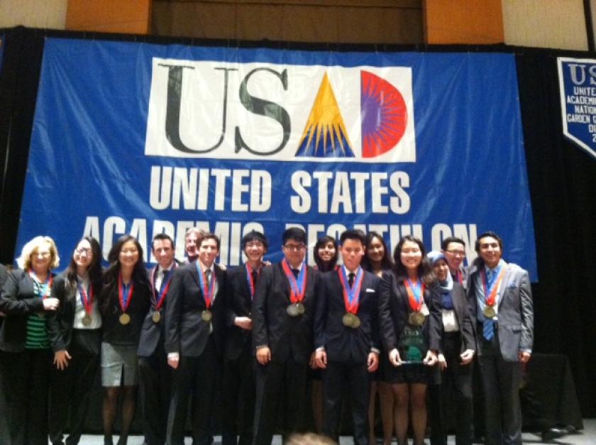 Members of the Granada Hills Charter High School team after winning the national academic decathlon.
