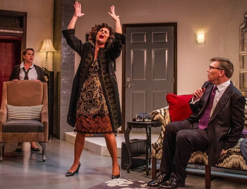 """Teri Brown, Kerry McCue and Charles Maze (left to right) in Diversionary Theatre's """"Regrets Only."""""""