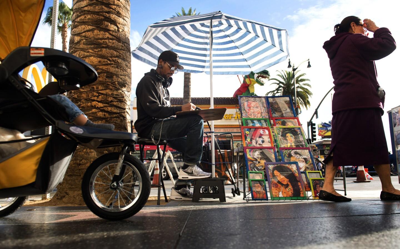 Street vendors on Hollywood Boulevard