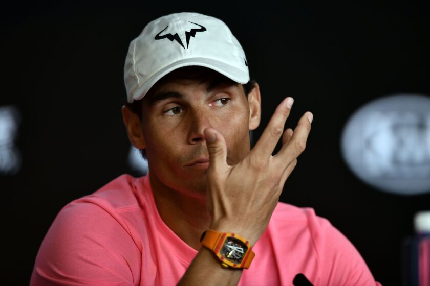 Rafael Nadal of Spain speaks at a news conference Jan. 18 ahead of the Australia Open.