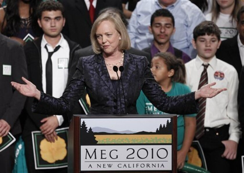 FILE - In this Nov. 2, 2010 photo, Republican gubernatorial candidate Meg Whitman concedes the election at her election night party in Los Angeles. Dipping into their personal fortunes to finance a political campaign turned out to be a bad investment for several candidates trying to break into political office. Whitman took the steepest gamble, spending $142 million in her effort to become California's next governor.(AP Photo/Chris Carlson)