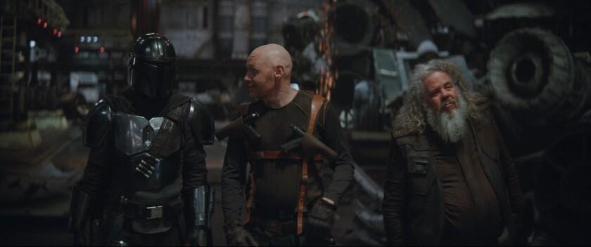 Mando, Mayfeld and Ran Malk in 'The Mandalorian'